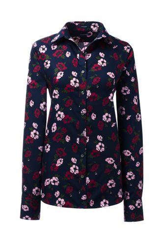 Gemusterte Supima Bügelfrei-Bluse für Damen