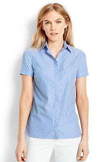 Gemusterte Supima Bügelfrei-Bluse mit kurzen Ärmeln