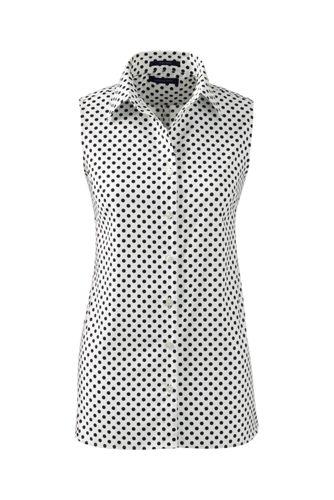 Ärmellose gemusterte Supima Bügelfrei-Bluse für Damen