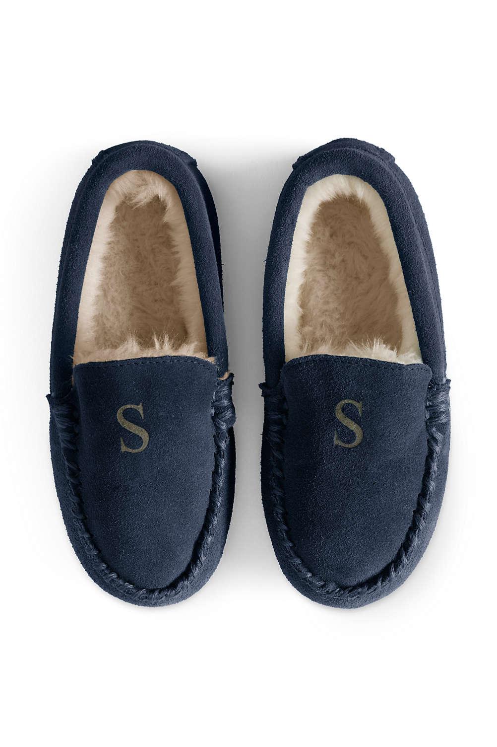 d66bc204e6db8 Kids Suede Leather Moccasin Slippers from Lands' End