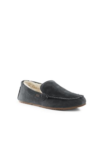 Mens Regular Suede Moccasin Slippers - 10 - BROWN Lands End Particular Discount Outlet Store Locations Buy Cheap Manchester Great Sale mEWtp2M0p0