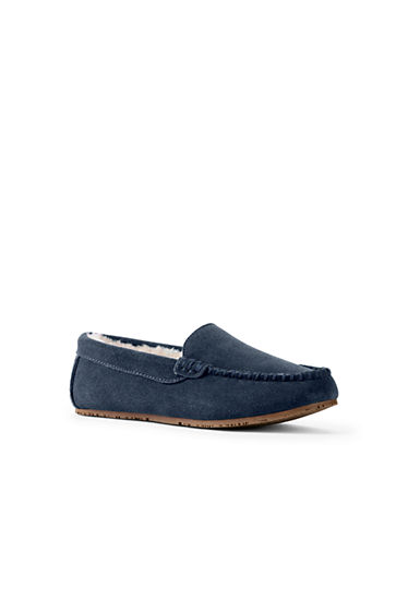 Mens Regular Suede Moccasin Slippers - 10 - BROWN Lands End liKqQieHA
