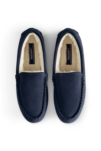 39de0248d30 Women s Suede Moccasin Slippers with Faux Fur Lining
