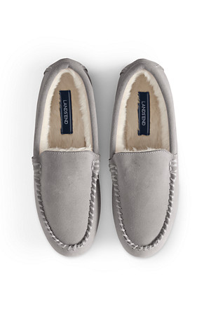 1e2f35a4d53f Women's Suede Moccasin Slippers with Faux Fur Lining | Lands' End