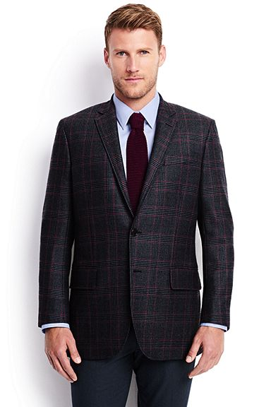 Tailored Wool Pattern Blazer 473125: Navy Glen Plaid