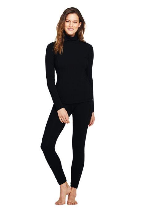 Women's Petite Merino Base Layer Long Underwear Thermaskin Turtleneck