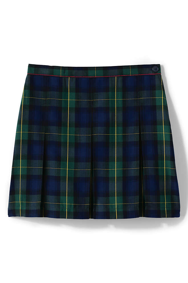 School Uniform Girls Plaid Box Pleat Skirt Top of the Knee, Front