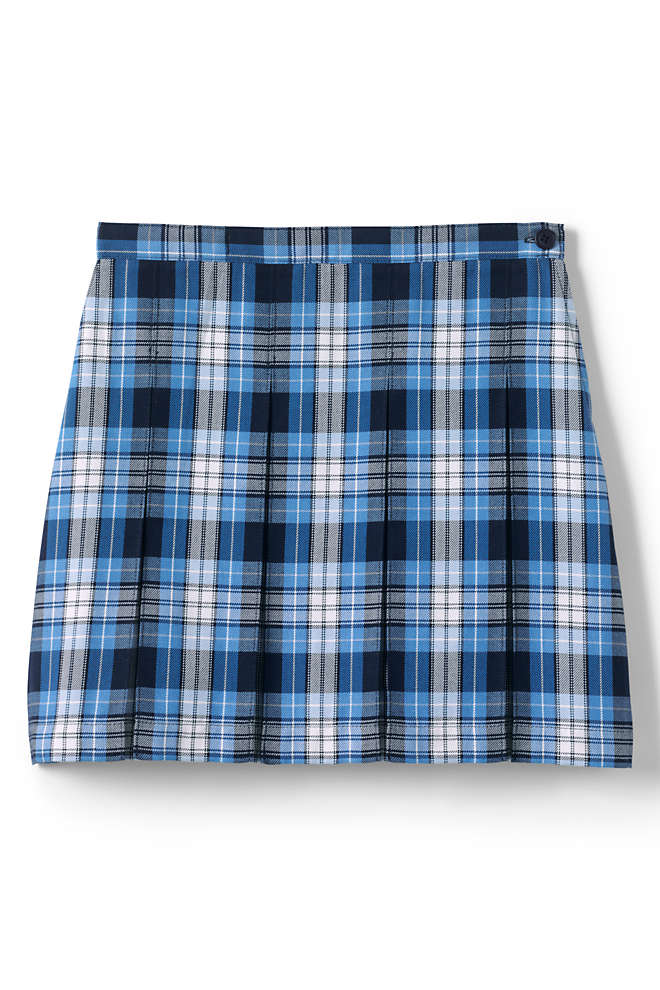 School Uniform Little Girls Plaid Box Pleat Skirt Top of the Knee, Front