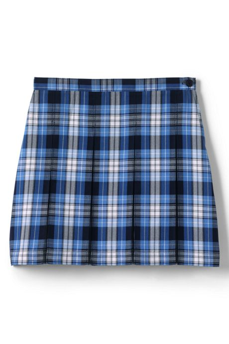 School Uniform Little Girls Plaid Box Pleat Skirt Top of the Knee