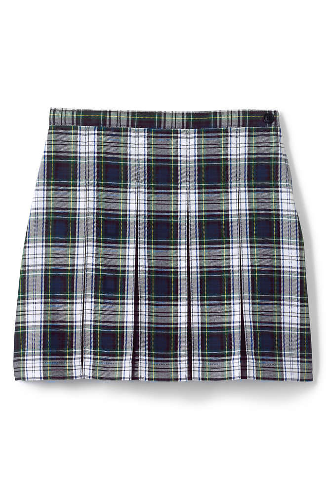 Girls Plaid Box Pleat Skirt Top of the Knee, Front