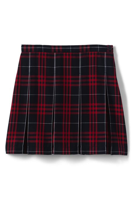 School Uniform Girls Plaid Box Pleat Skirt Top of the Knee