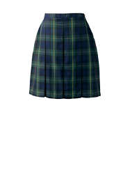 School Uniform Women's Plaid Box Pleat Skirt Top of the Knee