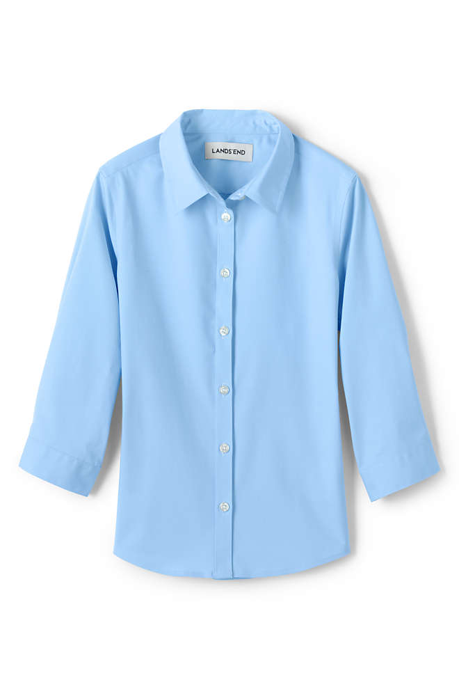 School Uniform Girls 3/4 Sleeve Stretch Perfect No Gape Shirt, Front
