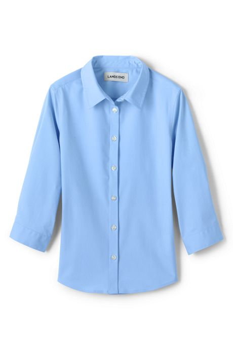 School Uniform Girls 3/4 Sleeve Stretch Perfect No Gape Shirt