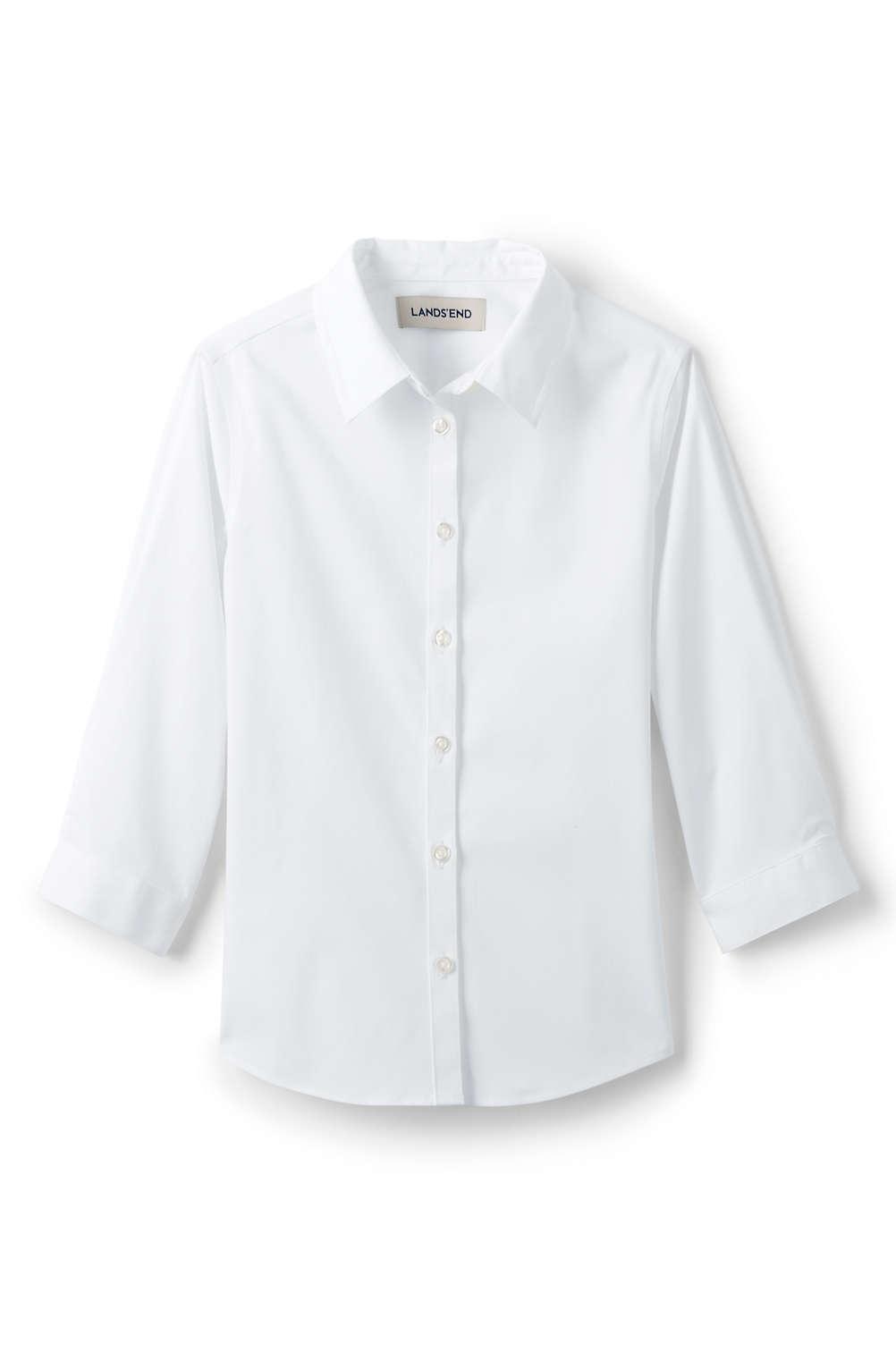 e23a666964f School Uniform 3 4 Sleeve Stretch Perfect No Gape Shirt from Lands' End