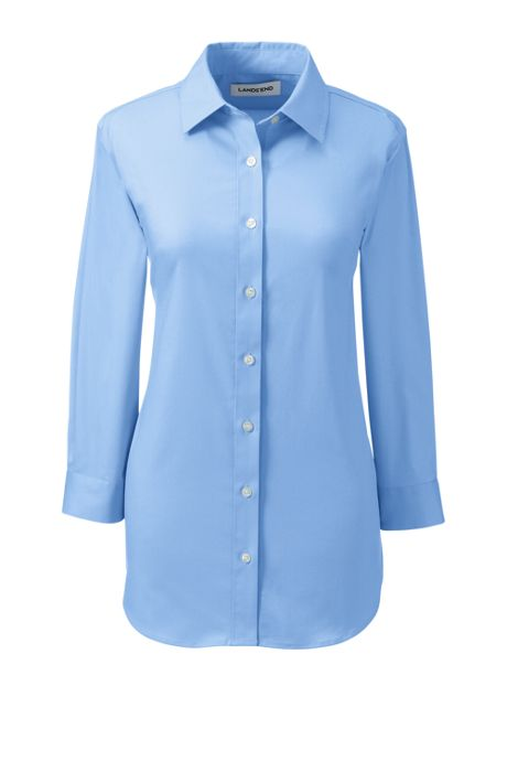 School Uniform Women's 3/4 Sleeve Stretch Perfect No Gape Shirt