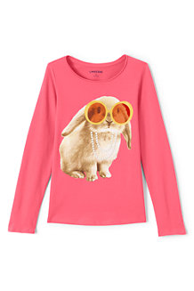 Girls' Long Sleeve Roll Neck Graphic Tee