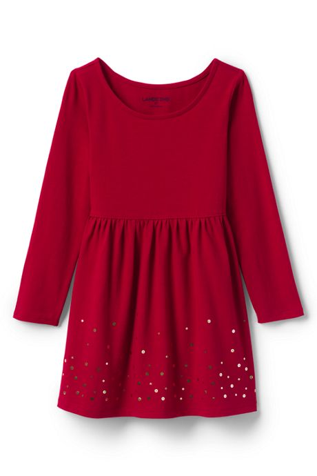 Toddler Girls Gathered Waist Graphic Jersey Dress