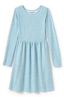 Gemustertes Jerseykleid mit langem Arm für Mädchen