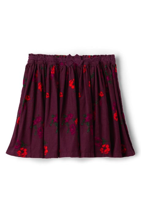 Girls Gathered Pattern Cord Skirt