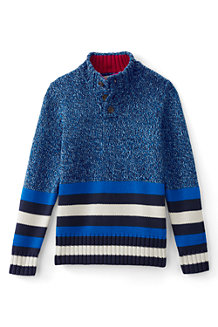 Boys' Button Down Striped Polo Neck Jumper