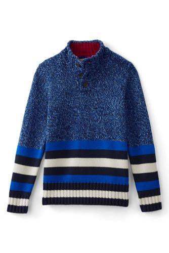 Gestreifter Pullover mit geknöpftem Stehkragen für Baby Jungen