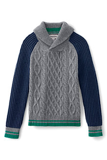 Boys' Colourblock Cable Shawl Collar Jumper