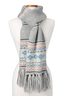 Women's Fair Isle Knit Fringe Scarf