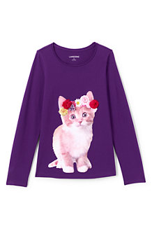 Girls' Embellished Graphic Long Sleeve Tee