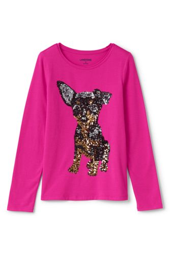 Little Girls' Embellished Graphic Long Sleeve Tee