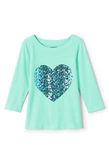 Girls' ¾-Sleeve Embellished Graphic Tee