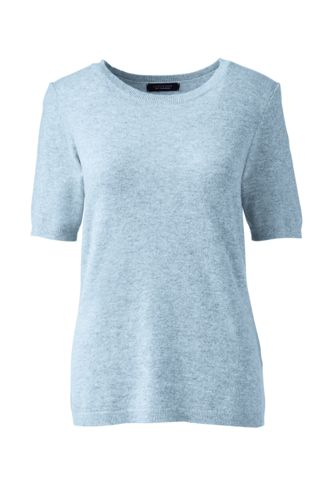Women's Regular Cashmere Short Sleeve Jewelneck Jumper