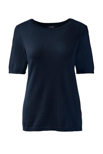 Women's Regular Cashmere Short Sleeve Jewelneck Jumper