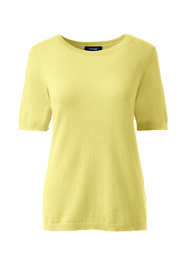 Women's Petite Short Sleeve Cashmere Sweater