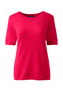 Women's Cashmere Short Sleeve Jewelneck Jumper