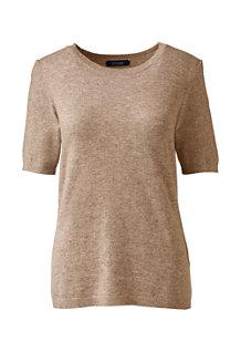Kaschmir-Pullover mit rundem Ausschnitt und kurzen Ärmeln