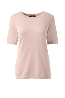 Women's Cashmere Short Sleeve Jewelneck Jumper