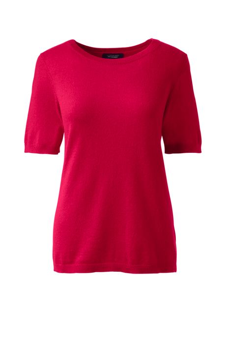 Women's Plus Size Short Sleeve Cashmere Sweater