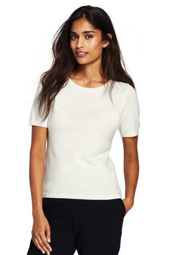 Women's Short Sleeve Cashmere Sweater from Lands' End