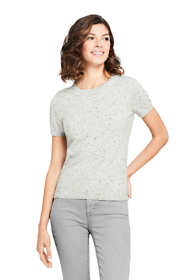 Women's Petite Cashmere Short Sleeve Crewneck Sweater