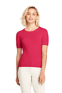 Women's Cashmere Short Sleeve Crewneck Sweater, Front
