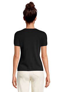 Women's Petite Cashmere Short Sleeve Crewneck Sweater, Back