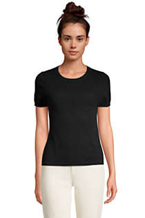 Women's Petite Cashmere Short Sleeve Crewneck Sweater, Front