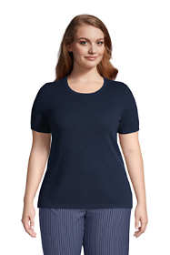 Women's Plus Size Cashmere Short Sleeve Crewneck Sweater