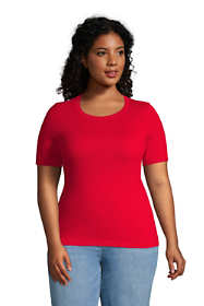 Women's Plus Size Cashmere Short Sleeve Crewneck Sweater