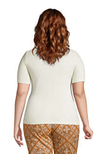 Women's Plus Size Cashmere Short Sleeve Crewneck Sweater, Back