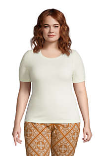 Women's Plus Size Cashmere Short Sleeve Crewneck Sweater, Front