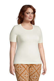 Women's Plus Size Cashmere Short Sleeve Crewneck Sweater, alternative image