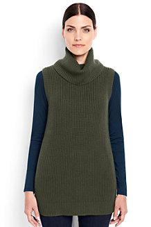 Women's Cotton/Merino Sleeveless Cowl Neck Jumper