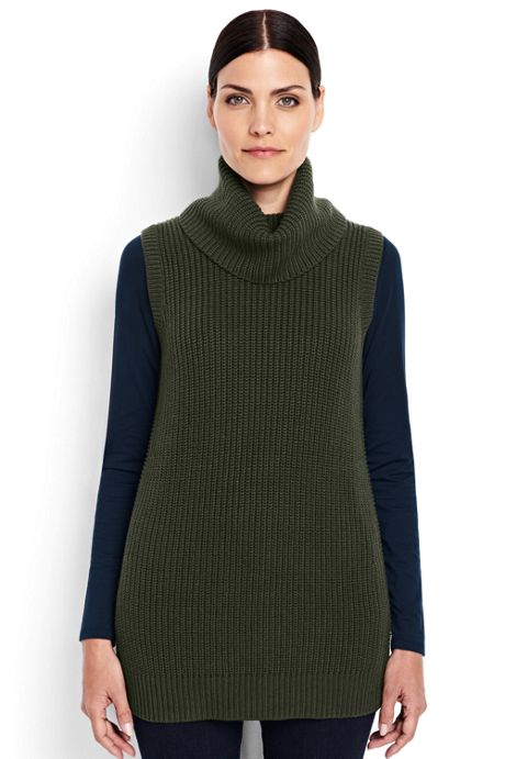 Womens Petite Shaker Cowl Sweater Vest Pullovers Sweaters